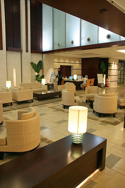 Lobby of JAL City Hotel Naha - there's wi-fi here, and three Internet PC terminals