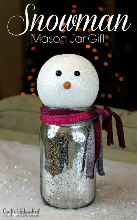 Mason Jar Gift: Snowman Themed   Crafts Unleashed
