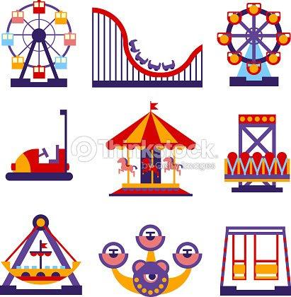 遊園地のアイコンセットベクトルイラストフラットなデザイン ベクトル