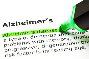Alzheimer's. Alzheimer's disease; a type of dementia that causes problems with memory, thinking; progressive, degenerative; risk factor is increasing age. A green highlighter highlights the words Alzheimer's disease.