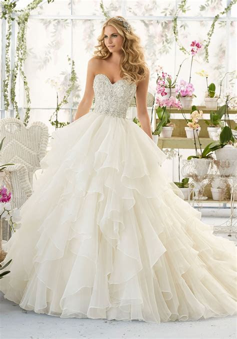 Wedding Dress with Crystal Bodice on Organza   Style 2815