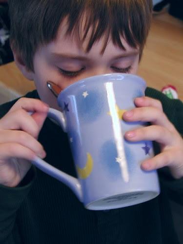 having hot chocolate