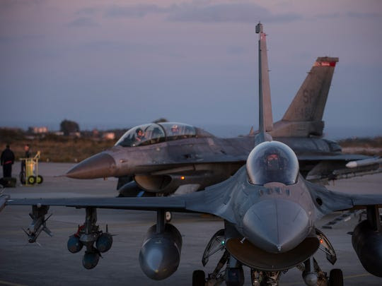 The forward-deployed F-16s trained on the northwest