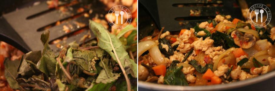 Heilig basilicum blaadjes of Thaise basilicum er door mengen en nog een minuutje roerbakken.