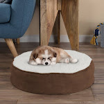 Petmaker 80-PET6041 Ride on Toy Car Battery Powered Round Pet Bed-Memory Foam Pillow Top Reversible Cat and Dog Bed with Removable Sherpa - Micro-Sued