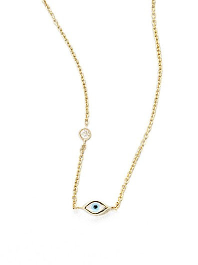Sydney Evan Diamond, Enamel and 14K Yellow Gold Mini Evil Eye Necklace