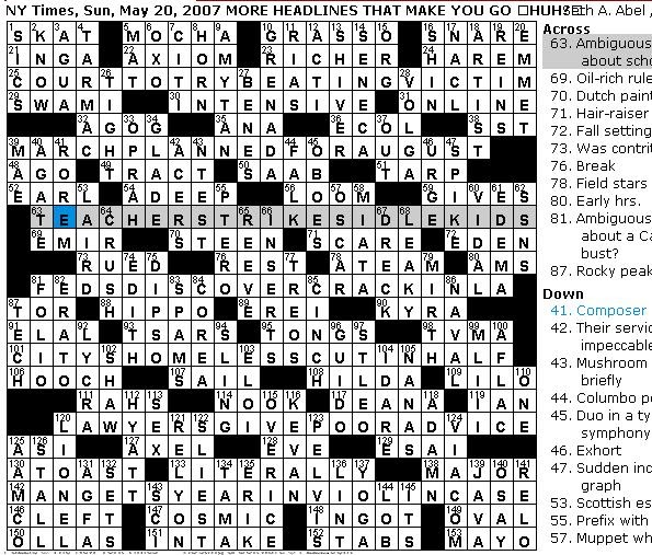 Rex Parker Does the NYT Crossword Puzzle: SUNDAY, May 20, 2007 ...