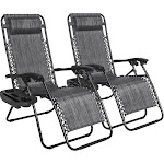 Best Choice Products Adjustable Zero Gravity Lounge Chair, Gray - 2 count