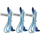 "Aleratec SATA 3 Cable Male Angle to Straight w/ Clip 20"" 3-Pack Clear Blue"