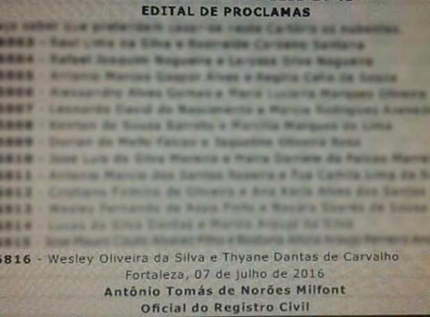 Edital de proclamas Wesley Safadão e Thyane (Foto: Divulgação)