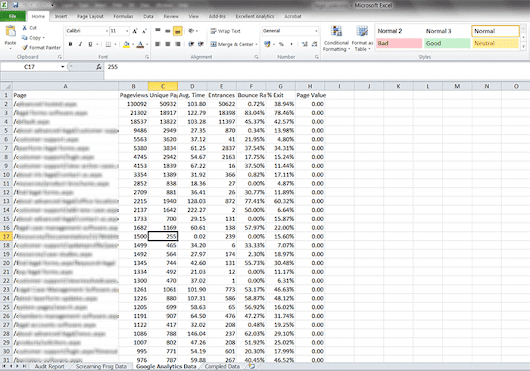 How to Combine Screaming Frog Data with Google Analytics Data