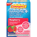 Emergen C Flavored Fizzy Drink Mix, Immune Plus, Raspberry - 10 pack, 0.32 oz packets
