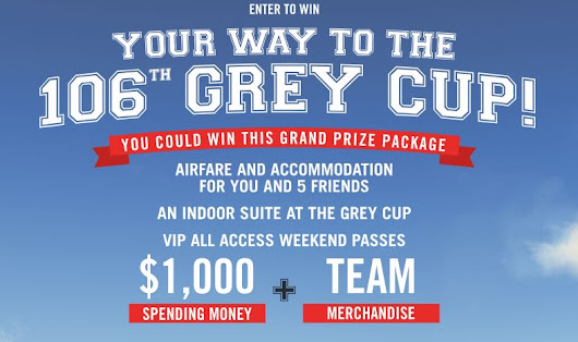 The Brick Win my Way to the Grey Cup Contest: Win a 6 person trip to attend the Grey Cup at