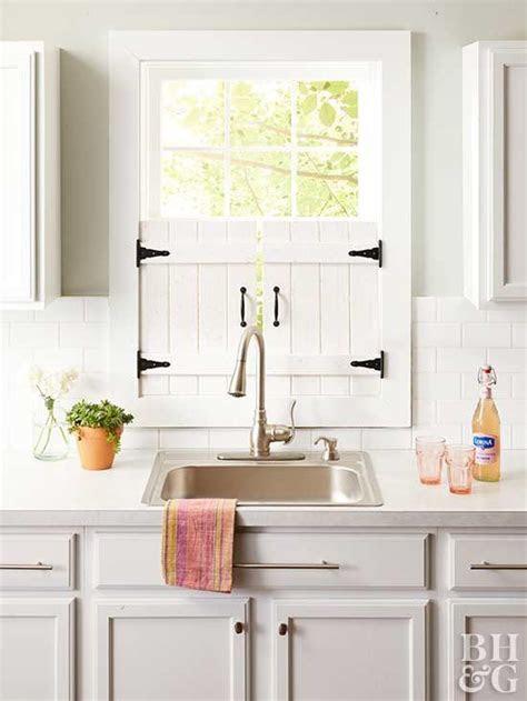 diy farmhouse kitchen window shutters  homes gardens