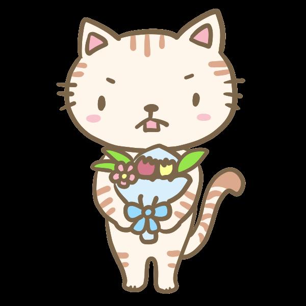 花束を渡すネコくんのイラスト かわいいフリー素材が無料のイラストレイン