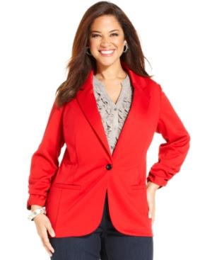 Style&co. Plus Size Ponte One-Button Blazer