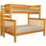 Bunk Bed Mission Style Twin over Full with End Ladder, Honey