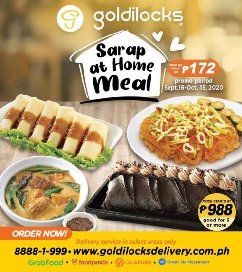 Make your family bonding at home more special with the Goldilocks Sarap at Home Meal. Share this feast for 5 for a special price of only ₱988