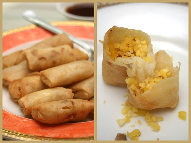 Spring rolls 春卷 with a difference - mung beans and dried shrimp inside!