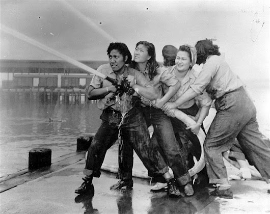 "Woman of the Day on Twitter: ""Female firefighters at Pearl Harbour, 1941. """