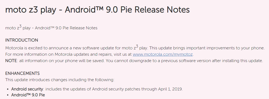 Motorola announces Android 9 Pie update for Moto Z3 Play in the U S