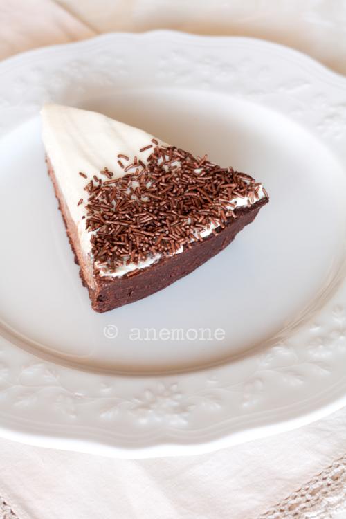 Cheesecake con panna e cioccolato fondente