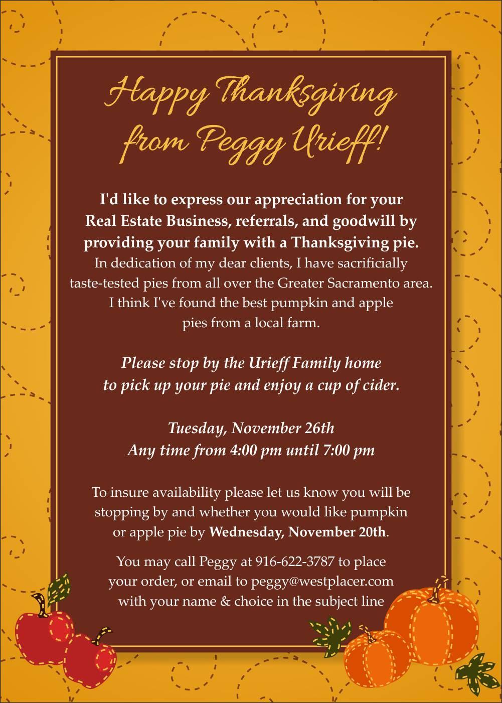 Thanksgiving Pie Card Popby Website