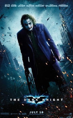 The psychotic Joker played by Heath Ledger in The Dark Knight