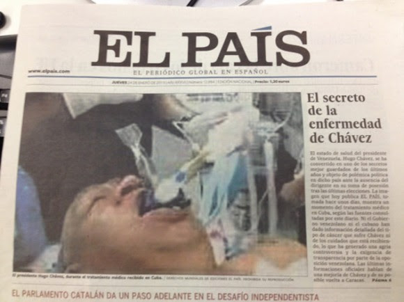 La portada de El País con la falsa foto del Presidente Chávez