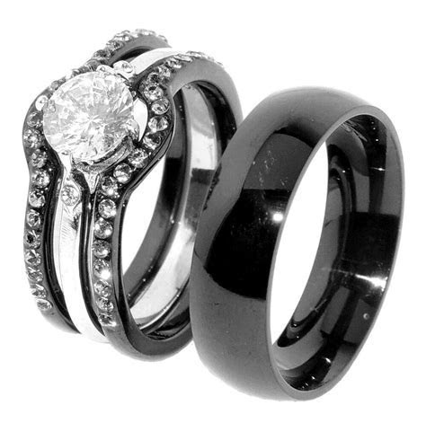 His & Hers 4 PCS Black IP Stainless Steel Women Engagement