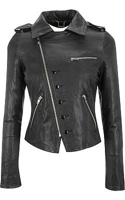 Black Rivet Vintage Lamb Cutaway Asymmetrical Jacket