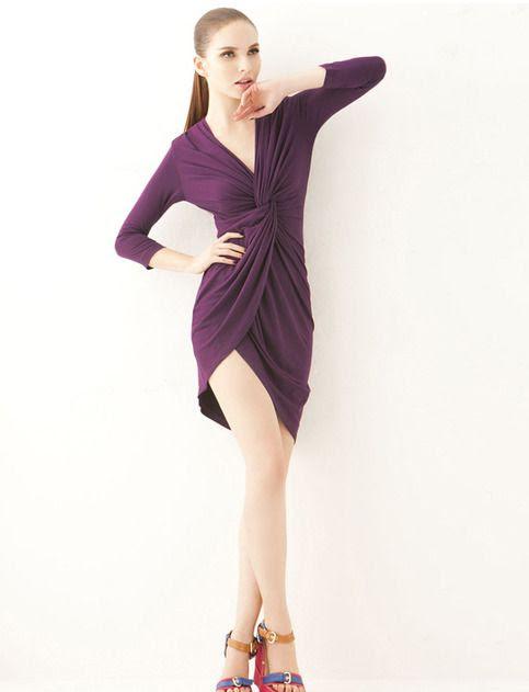 Asymmetric Purple Knot Dress from Street Style Fashion