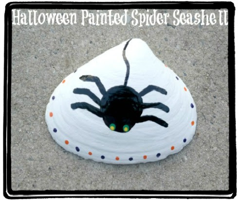 Hand-Painted Black Spider Seashells for Halloween - The Classy Chics