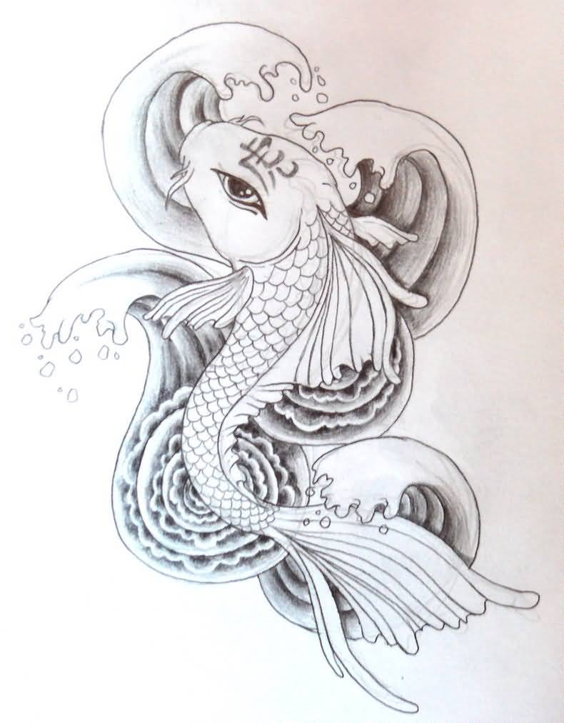 Black And White Famous Koi Fish Tattoo Design