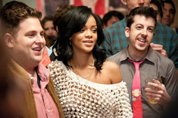 Jonah Hill, Rihanna and Christopher Mintz-Plasse chill at James Franco's house party in THIS IS THE END.