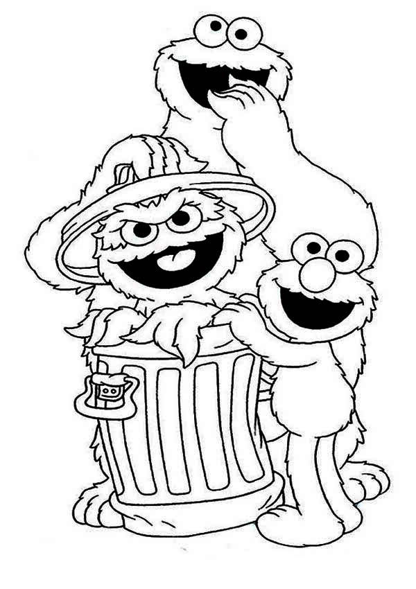 Cookie and Elmo with Oscar in Garbage Can in Sesame Street ...