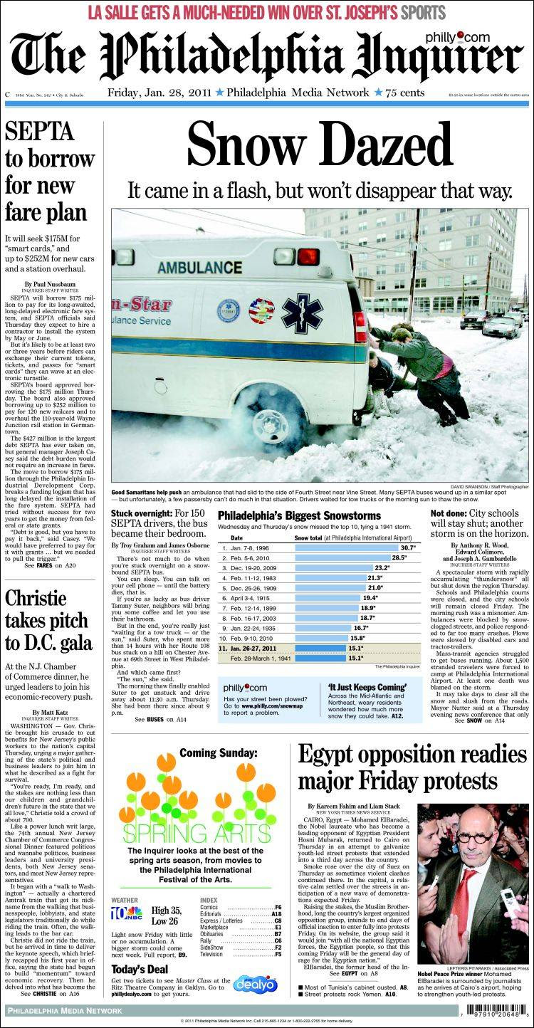 Newspaper Philadelphia Inquirer (USA). Front pages from newspapers ...