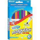 Bazic 10 Color Fine Line Washable Markers - Assortment