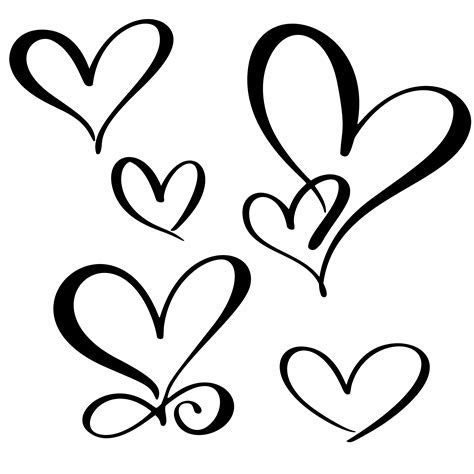set lovers heart. Handmade vector calligraphy. Decor for