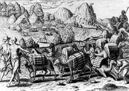 Llamas cargadas con la plata extraída de la minas de Potosí, Perú, 1602.
