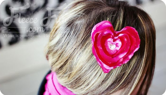 Heart No Sew Satin Hair Clip ♥ Fleece Fun