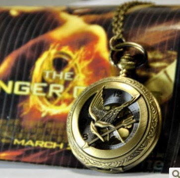 hunger games jewelry pocket watch necklace mocking bird pendant hb135