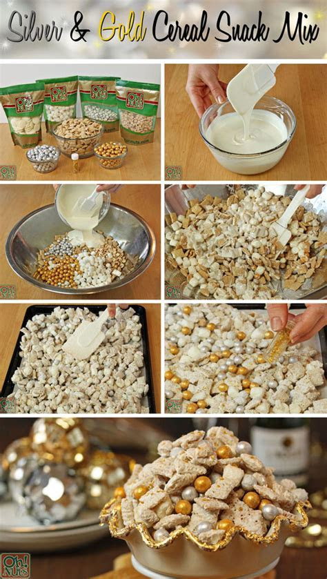 Party Food Idea ? Silver and Gold Cereal Snack Mix   Oh