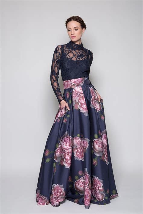 peaches silk printed long couture skirt