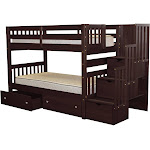 Stairway Bunk Bed Twin over Twin with 3 Drawers in the Steps and 2 Under Bed Drawers, Cappuccino
