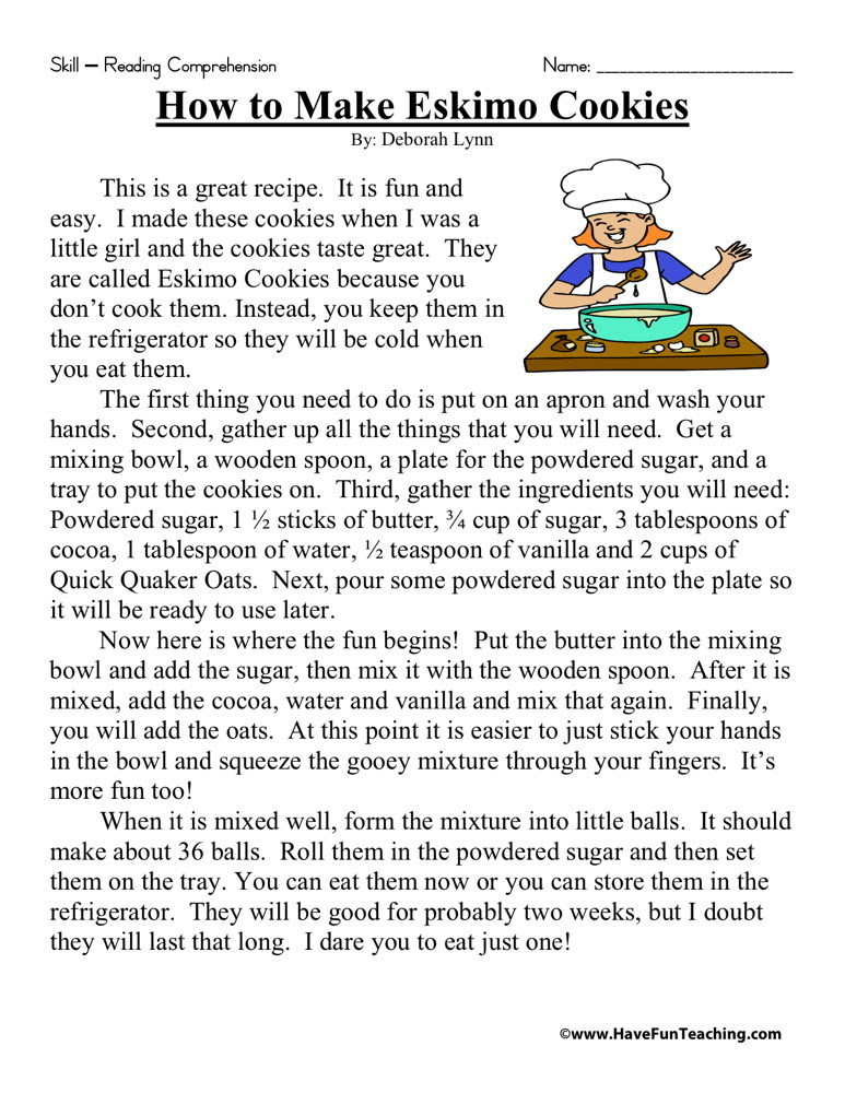Reading Prehension Worksheet How To Make Eskimo Cookies