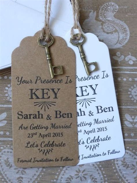 Details about Rustic Key Save The Date Card / Tag Wedding