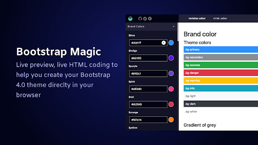 Bootstrap Magic 4: Generate your own Bootstrap 4.0 theme in minutes