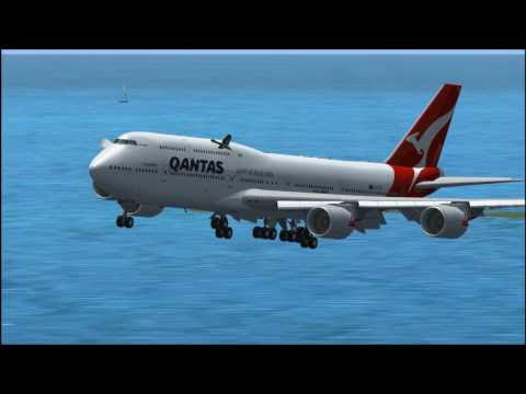 Landing a Qantas Airlines B747 in St.Maarten and very Low and Steep Approach