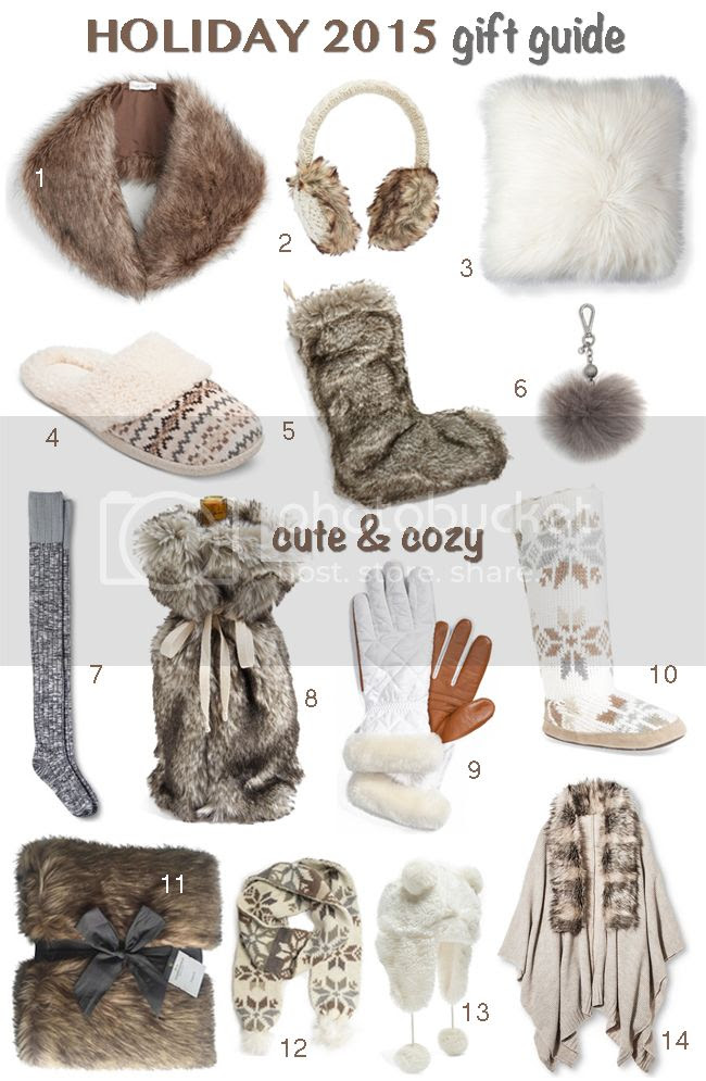 Cute and Cozy holiday 2015 Gift Guide, faux fur gifts under $100
